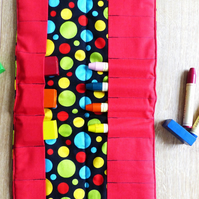 Bright Spotty Block and Stick Beeswax Crayon Roll Holder (Steiner inspired)
