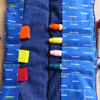 Denim and blue block and stick beeswax crayon roll holder (Steiner inspired)