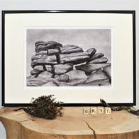 Higgar Tor Outcrop, Unframed Giclee Reproduction, A4