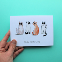Cool Four Cats A6 Greeting Card