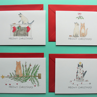 Meowy Christmas Cards - Pack of 4 assorted cat illustrations