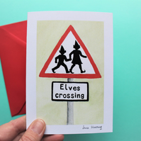 'Elves Crossing' Roadsign Christmas Card with envelope