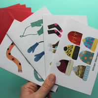 Winter Warmers Christmas Card Pack of four assorted collages.