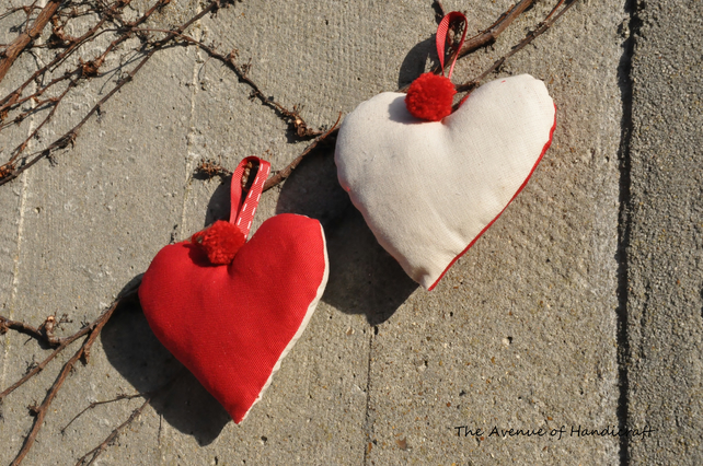 SALE - Set of 2 Red and Cream Pompom Hanging Hearts