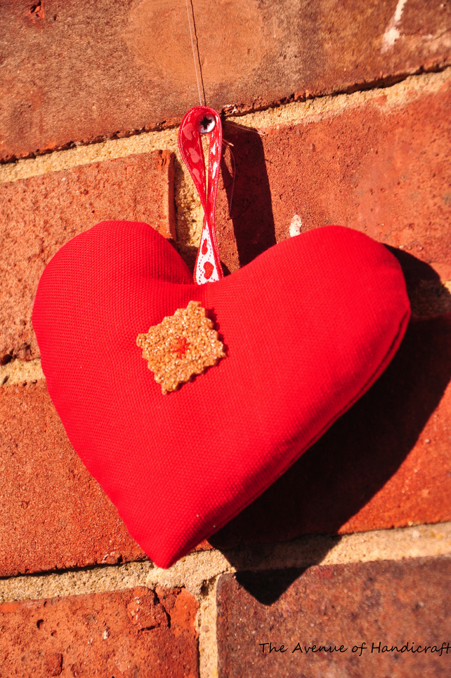 SALE - Set of 2 Red Cotton Hanging Hearts