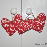 Set Of 3 Hanging Christmas Hearts