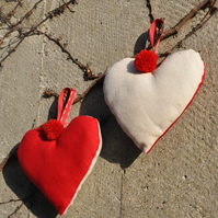 Set of 2 Red and Cream Pompom Hanging Hearts
