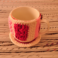 SALE Cup cozy and coaster set