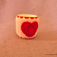 SALE HALF PRICE Heart cup cozy