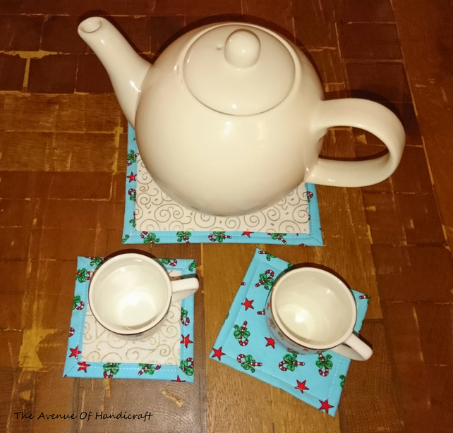 SALE - Christmas coasters and tea pot holder mat set