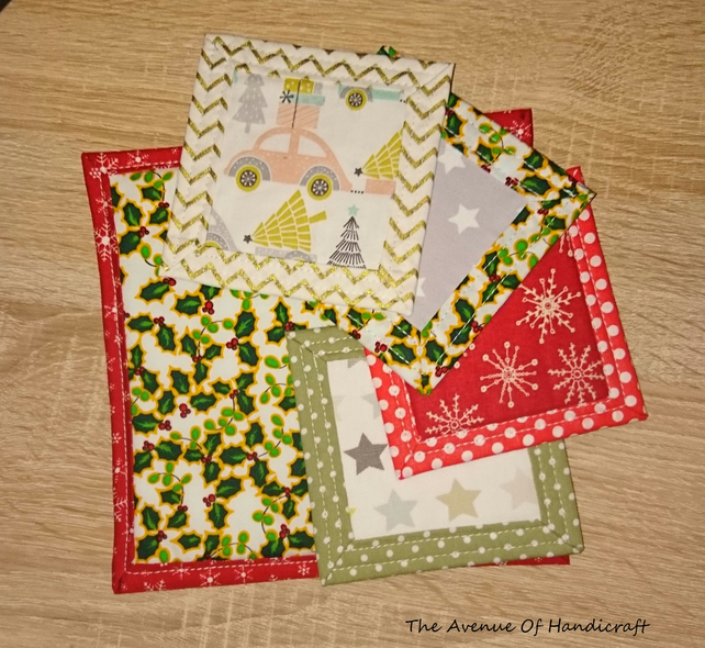 SALE - Tea Party - Christmas Fabric Coaster Set