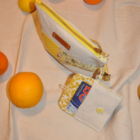 SALE HALF PRICE The Yellow Wristlet Bag and Mini Purse Wallet Set