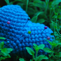 SALE HALF PRICE Blue heart crochet pin cushion