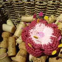 SALE HALF PRICE Pink flower pin cushion