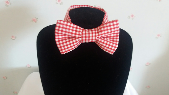Boys red and white check bow tie
