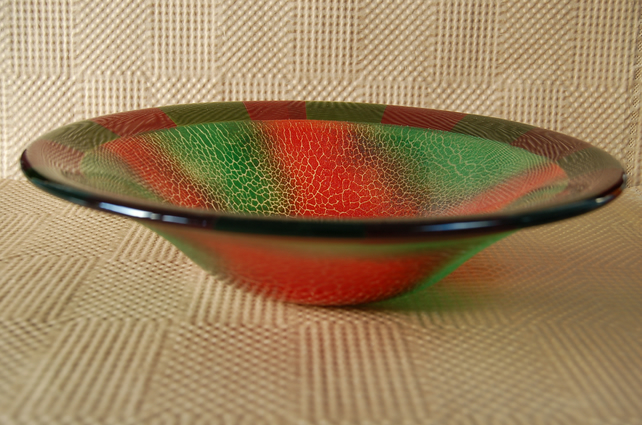 Fused Glass Bowl with Green and Red Crackle Design