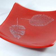 Birch Leaf inclusion Fused Glass Dish