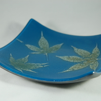 Maple Leaf inclusion Fused Glass Dish