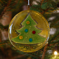 Fused Glass Tree Christmas Decoration