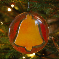 Fused Glass Bell Christmas Decoration