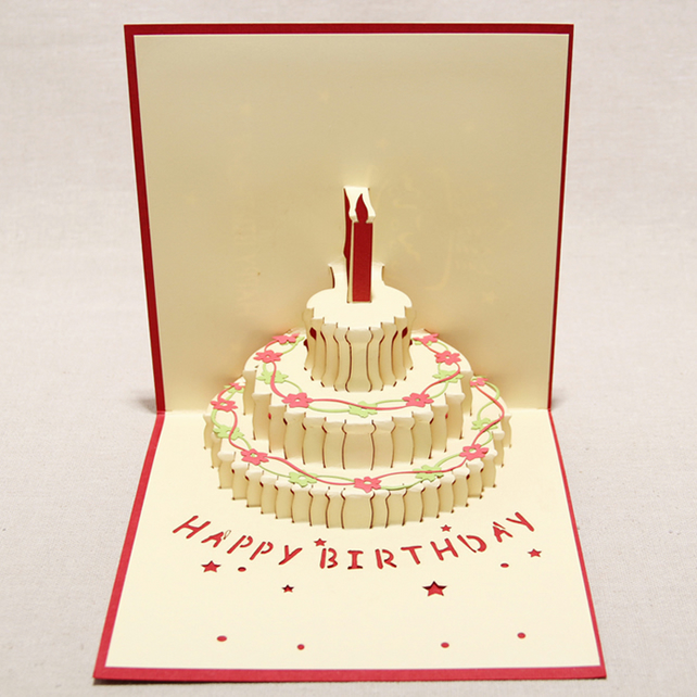 Birthday Cake Red 3D Pop Up Greeting Cards Anniversary Baby Birthday Easter Hall