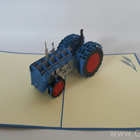 Tractor 3D Pop Up Greeting Card Handmade Happy Birthday Wedding Anniversary Frie