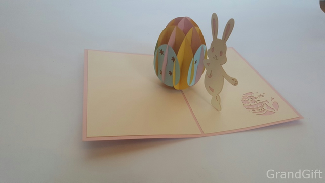 Easter bunny 3D Pop Up Greeting Card Handmade Happy Birthday Wedding Anniversar