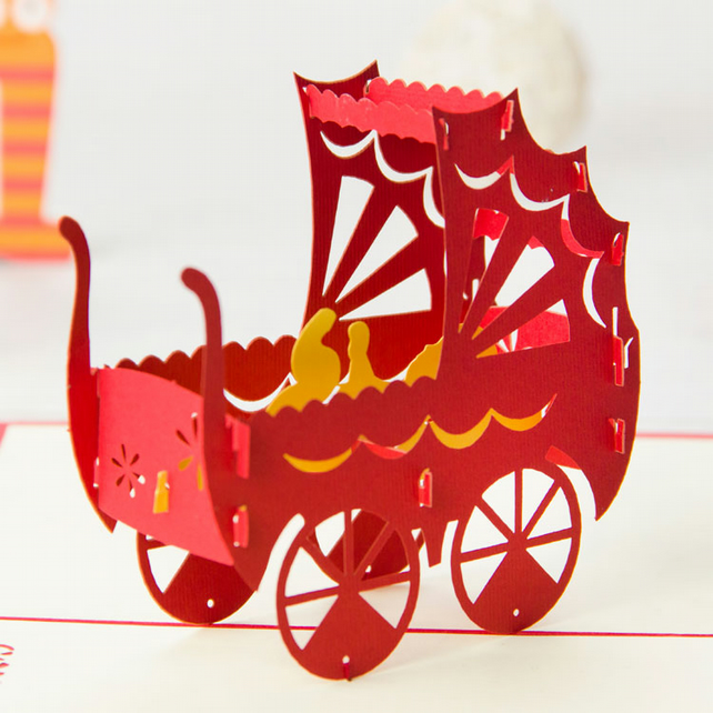 Baby Carriage 3D Pop Up Greeting Cards Anniversary Baby Birthday Easter Hallowee