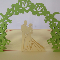Green Arch On Your Wedding Day  3D Pop Up Greeting Cards Anniversary Baby