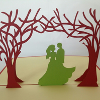 Happy Wedding Red  3D Pop Up Greeting Cards Anniversary,Wedding invitations