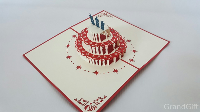 Birthday Theme Handmade Birthday Greetings Cards Kirigami origami paper 3D Pop u