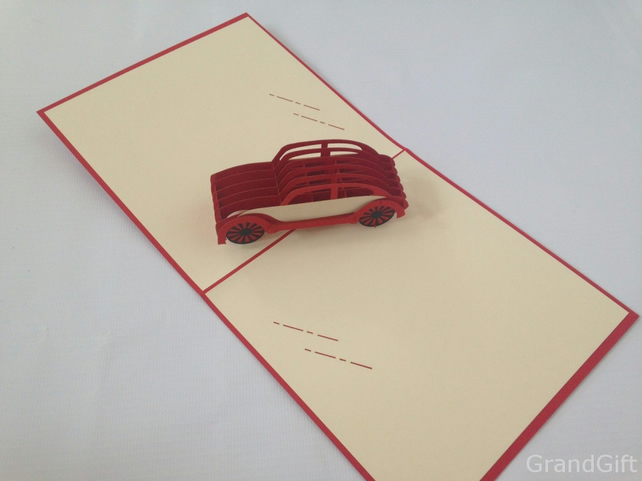 Handmade 3D Bettle Old Car Soaring Aerodone Handmade Pop Up Card Greeting