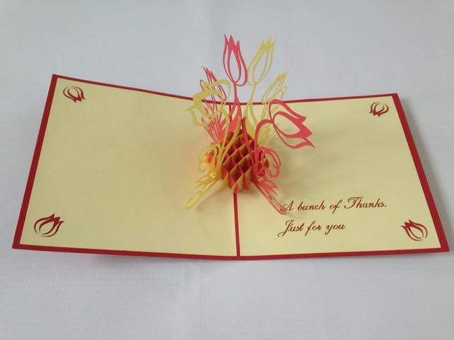 Thank you flowers  Daffodil Creative 3D Pop UP Greeting & Gift Birthday Cards Mo