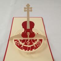 cello music 3D Pop Up Greeting Card Handmade Happy Birthday Wedding Anniversary