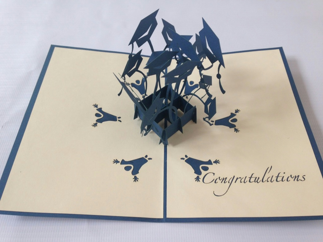 Graduation hat bachelor 3D pop up handmade laser cut vintage cards Pet paradise