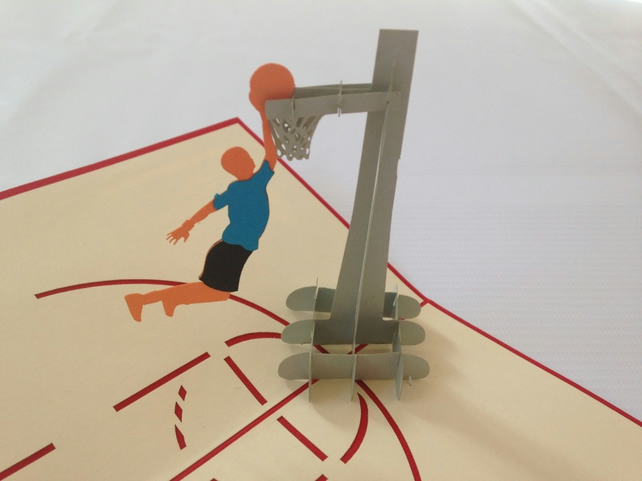 Basketball NBA Field 3D Pop Up Greeting Card Handmade Happy Birthday Wedding Ann