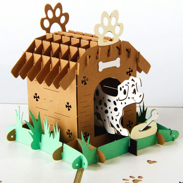 Dog kennel 3D pop up handmade laser cut vintage cards Pet paradise creative gift