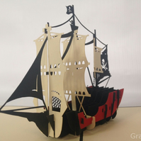 uniqe Pirate Sailing Boat 3D Pop Up Greeting Card Handmade Happy Birthday