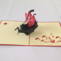 Pirate Sailing Boat 3D Pop Up Greeting Card Handmade Happy Birthday Wedding Anni