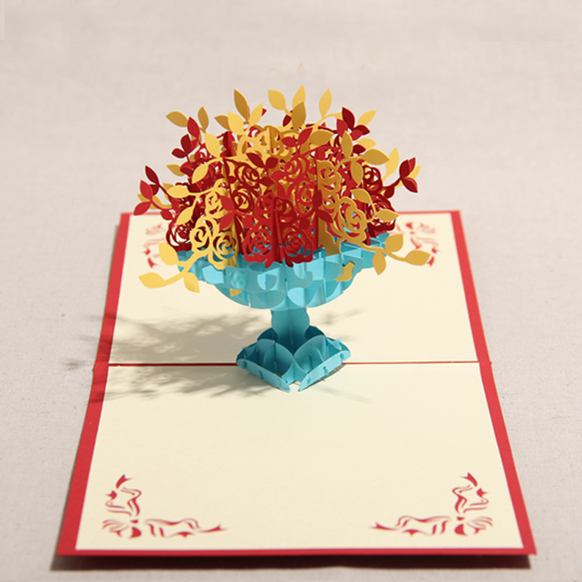 Many Rose Handmade Creative Kirigami & Origami 3D Pop UP Greeting & GrandGift
