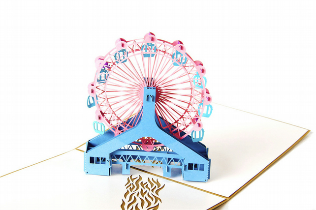 Ferris wheel Purple 3D Pop Up Greeting Cards Anniversary Baby Birthday Easter Ha