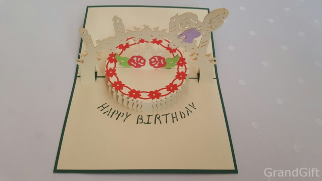 Birthday Cake Green 3D Pop Up Greeting Cards Anniversary Baby Birthday Easter