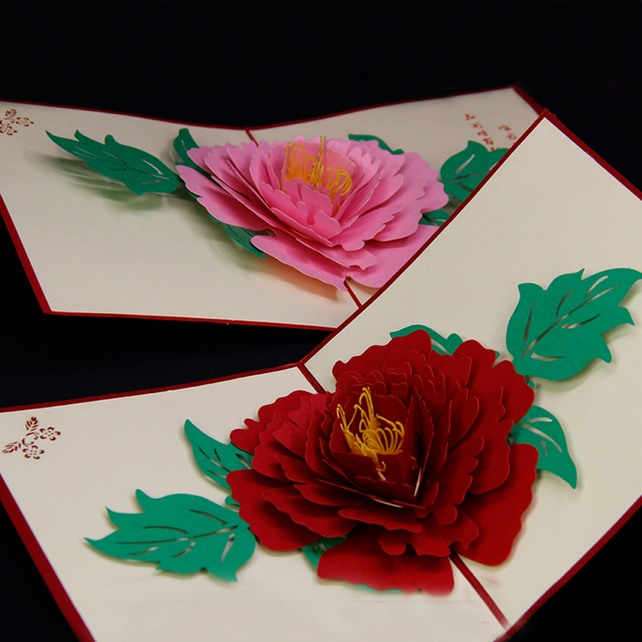 Big Rose flower 3D Peony Handmade Pop Up Card Greeting & Gift Card in Red …