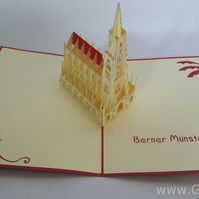 berner münster bern 3D Pop Up Greeting Cards Anniversary Baby Birthday Easter Ha
