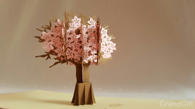 Cherry Blossom Pink Flower Handmade Kirigami & Origami 3D Pop UP Greeting C