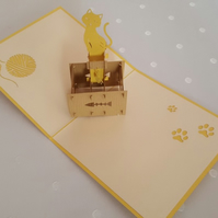 Cat 3D Pop Up Greeting Card Handmade Happy Birthday Wedding Anniversary Friendsh