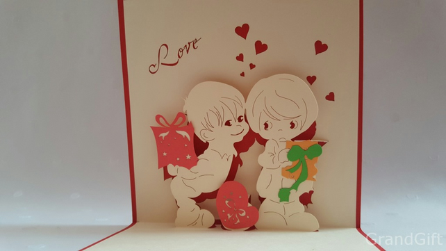 Kids kiss 3D Pop Up Greeting Card Handmade Happy Birthday Wedding Anniversary Fr