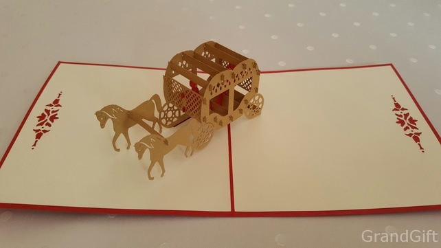 Horse Carriage 3D Pop Up Greeting Card Handmade Happy Birthday Wedding Anniversa