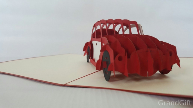 Beetle 3d pop up Greeting Card Mercedes-Benz Car Anniversary Baby Happy Birthday