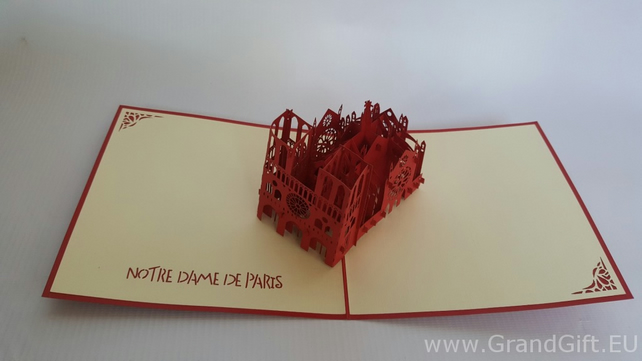 Notre Dame De paris 3D Pop Up Greeting Cards Anniversary Baby Birthday Easter Ha